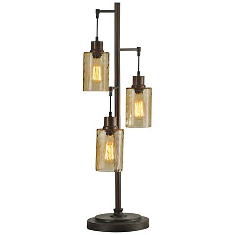 Bronze Table Lamp with Clear Dimpled Glass Shades