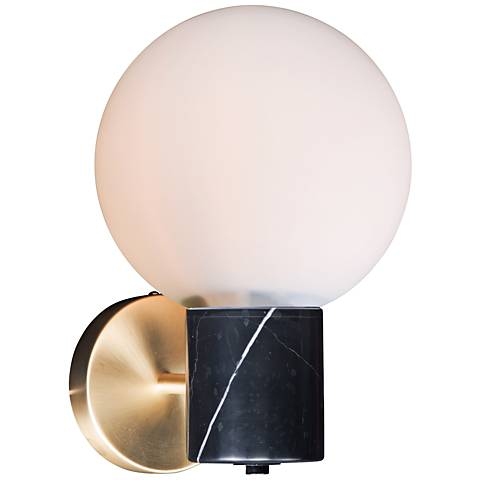 "Maxim Vesper 11 1/2"" High Satin Brass and Black Wall Sconce"