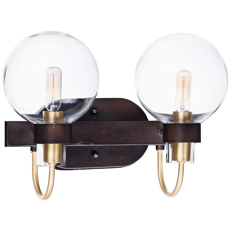 """Bauhaus 16"""" Wide Bronze 2-Light Bath Light"""