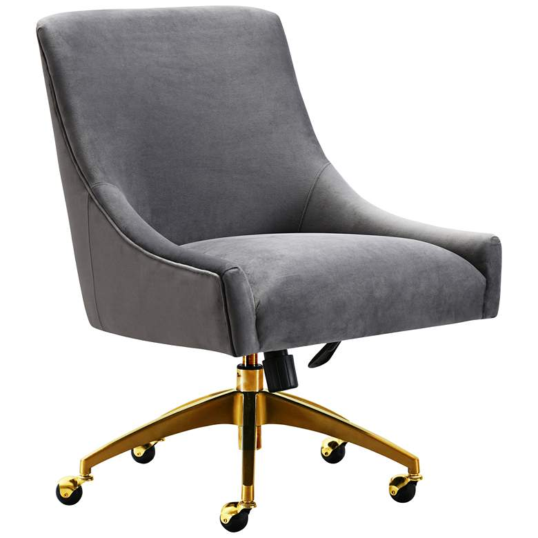 Beatrix Gray Velvet Adjustable Swivel Office Chair