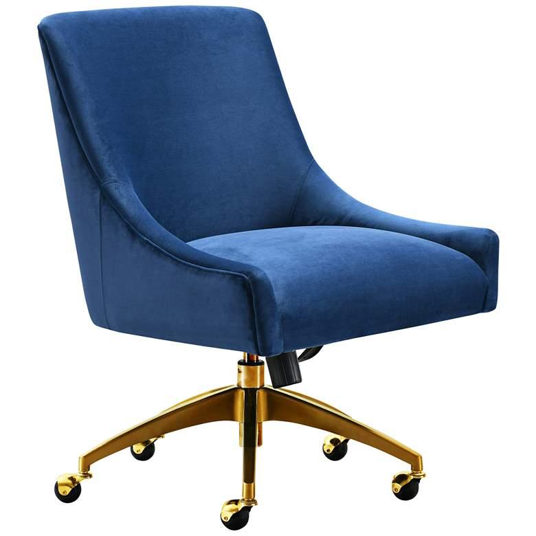 Beatrix Navy Velvet Adjustable Swivel Office Chair
