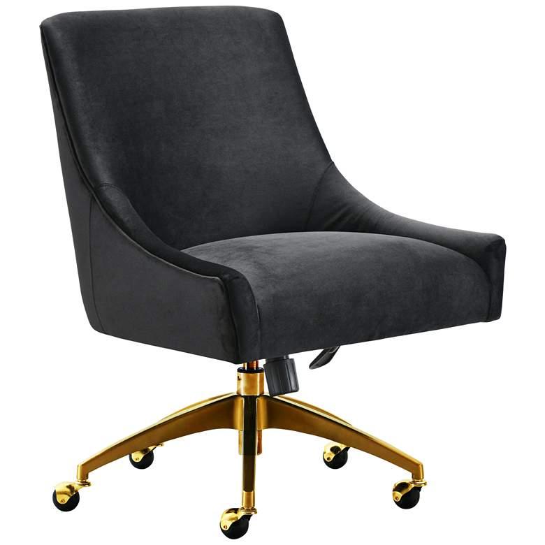 Beatrix Black Velvet Adjustable Swivel Office Chair