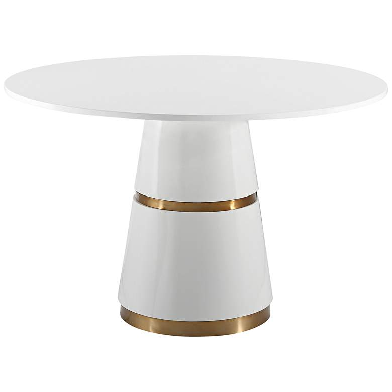 """Rosa 47"""" Wide White Lacquer Round Dining Table"""