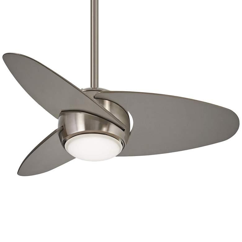 "36"" Minka Aire Slant Brushed Steel LED Ceiling Fan"