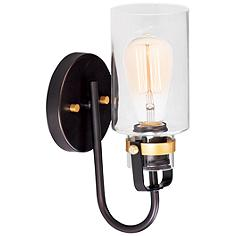 """Maxim Magnolia 12"""" High Bronze and Gold Wall Sconce"""