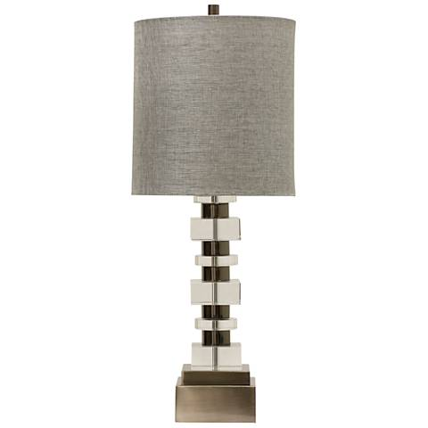 Perry Brushed Nickel Metal And Clear Crystal Table Lamp