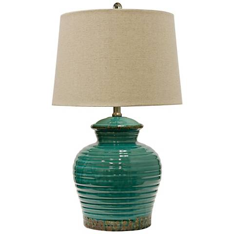 Turquoise Rippled Texture Ceramic Table Lamp