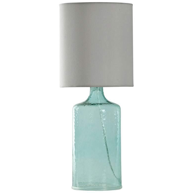 Aqua Blue Accent Table Lamp with White Hardback Fabric Shade