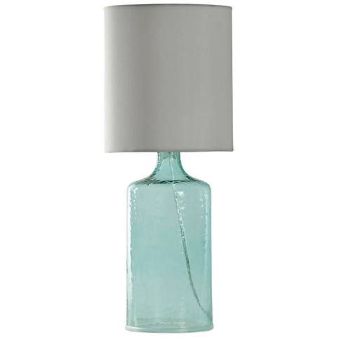 Aqua Blue Accent Table Lamp with White Hardback Fabric Shade