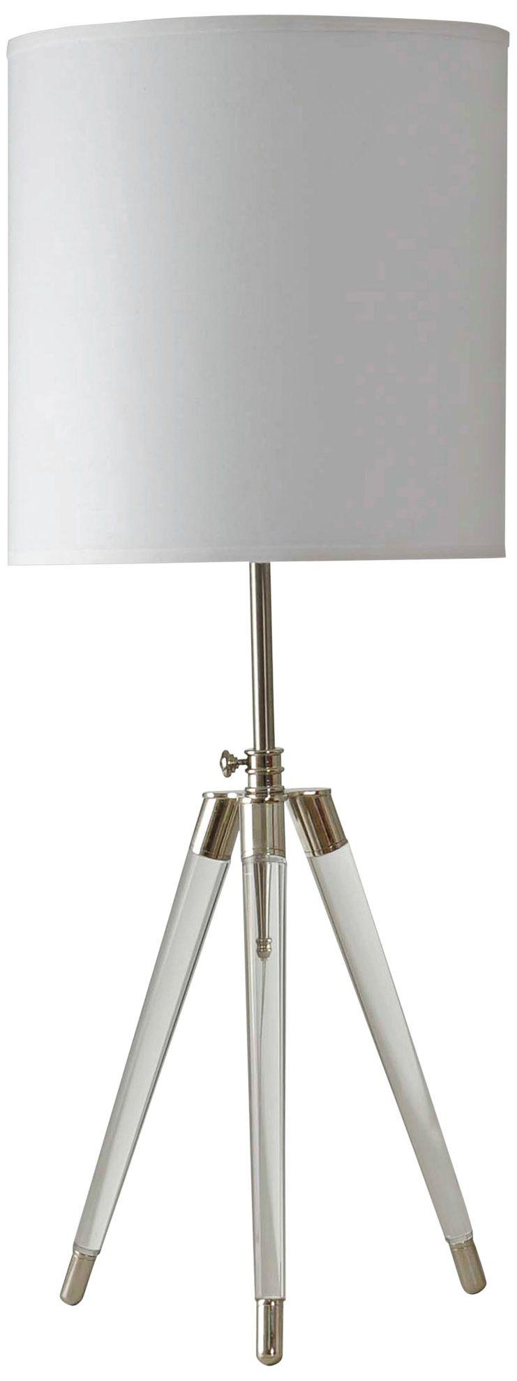 Superbe Crystal Tripod Table Lamp With White Hardback Fabric Shade