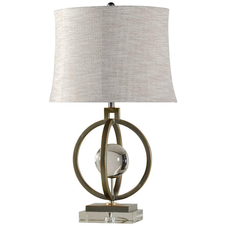Paris Tin And Gold Metal Table Lamp with Taupe Fabric Shade