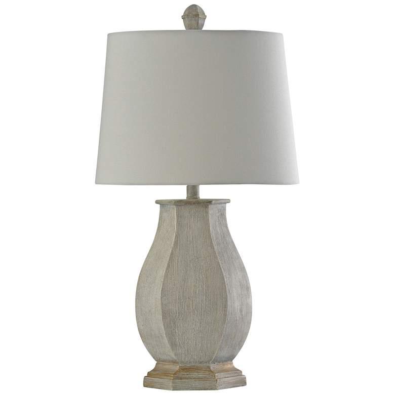 Basilica Sky Cream Table Lamp with White Fabric Shade