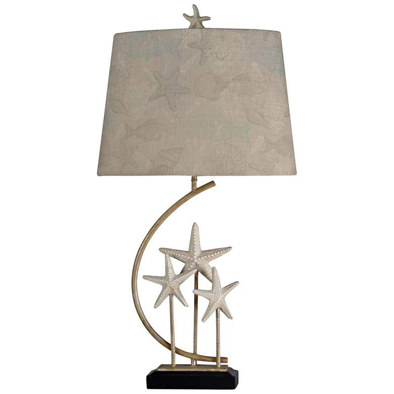Sand Stone Silver and White Starfish Table Lamp