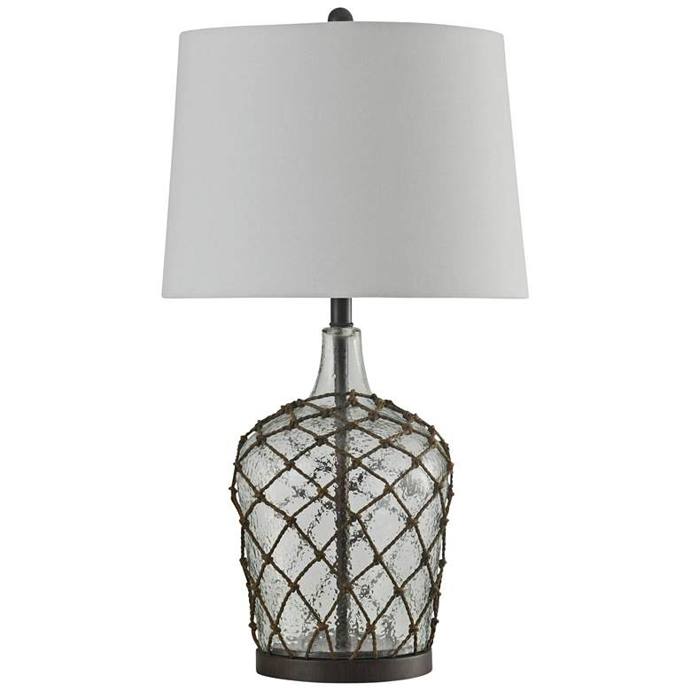 Cayos Clear Glass Table Lamp w/ White Hardback