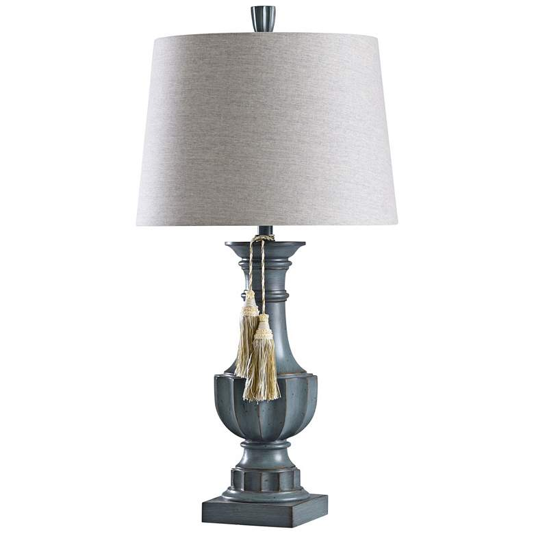 Chambray Gray Table Lamp with Tassels