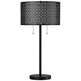 Echo Black Table Lamp With Patterned Styrene Shade