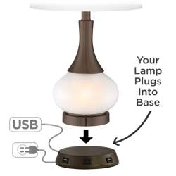 Universal Charging USB-Outlet Workstation Bronze Lamp Base