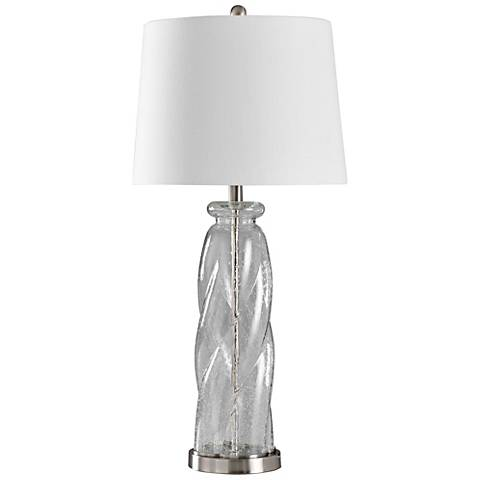 Seeded Clear Glass Table Lamp with White Styrene Shade