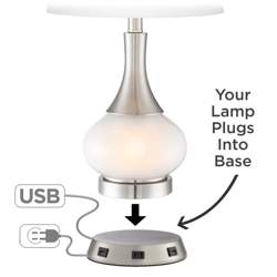 Universal Charging USB-Outlet Workstation Nickel Lamp Base