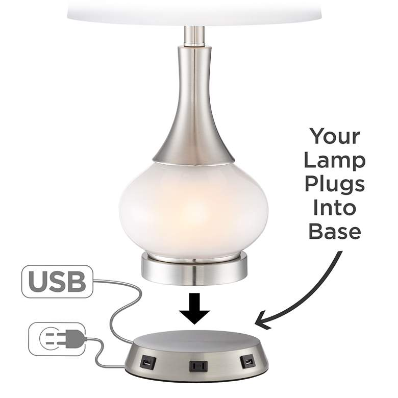 Universal Charging USB-Outlet Workstation Nickel Lamp Base