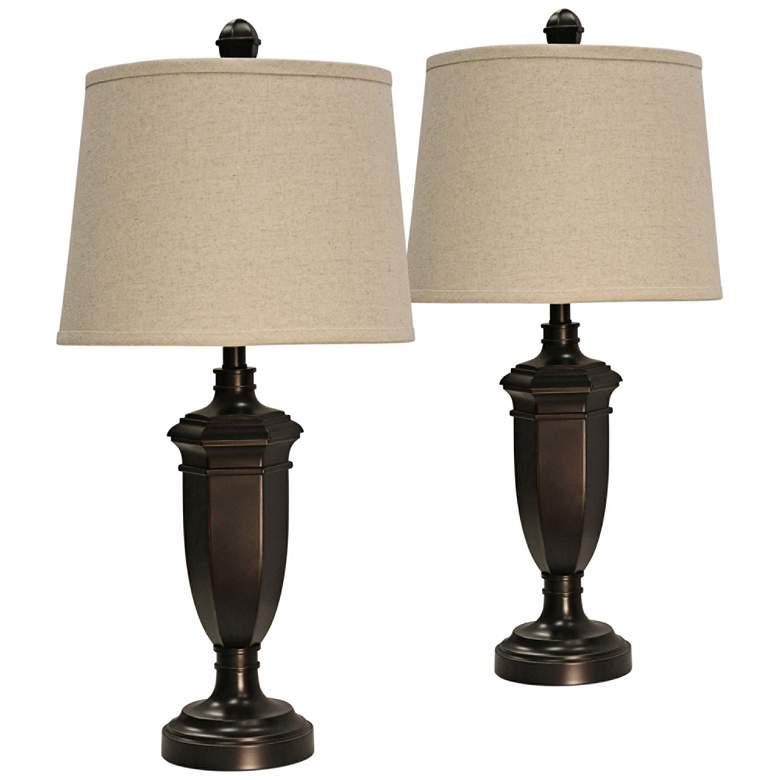 Madison Bronze Table Lamp with Beige Hardback Shade