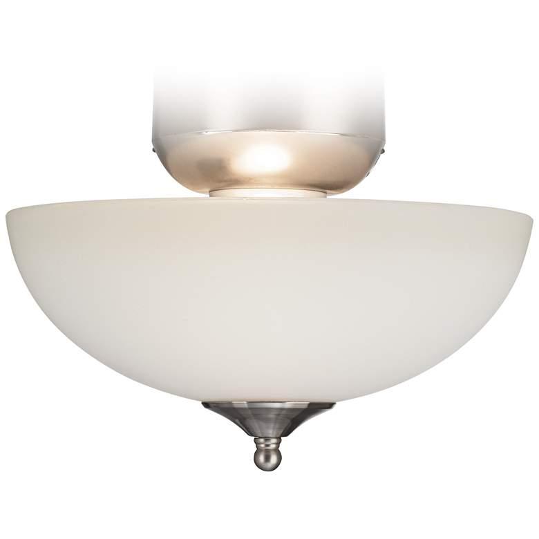 White Glass Brushed Nickel Led Ceiling Fan Light Kit
