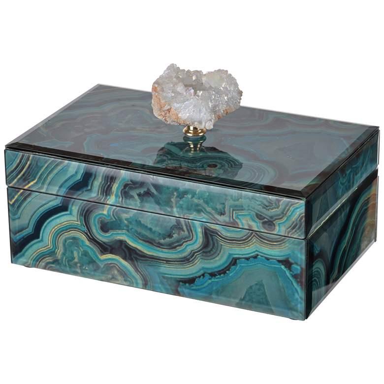 "Bethany 8 1/4"" Wide Turquoise Marble Decorative Box"