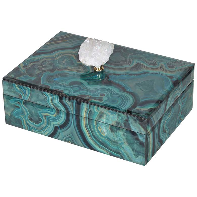 "Bethany Large 9 3/4"" Wide Turquoise Marble Decorative Box"