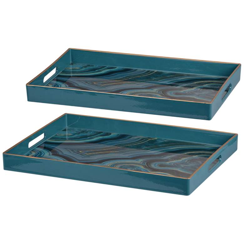 """Effra 19"""" and 18"""" Wide Turquoise Trays - Set of 2"""
