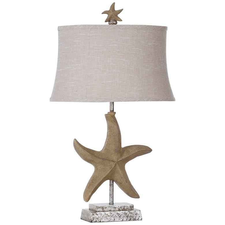 Florentine Sandstone Table Lamp with White Softback Shade