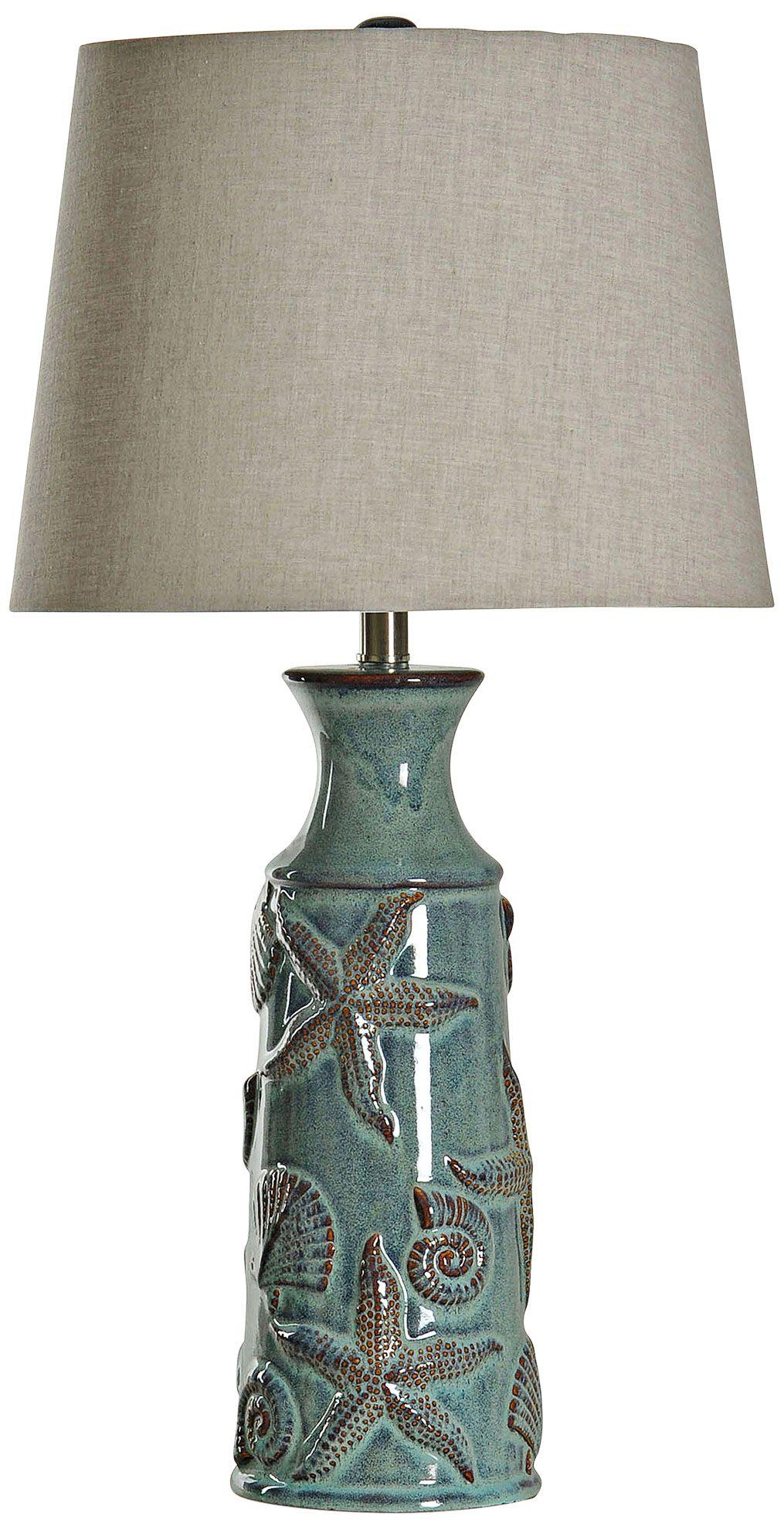 Blue Bay Tropical   Coastal Ceramic Starfish Table Lamp