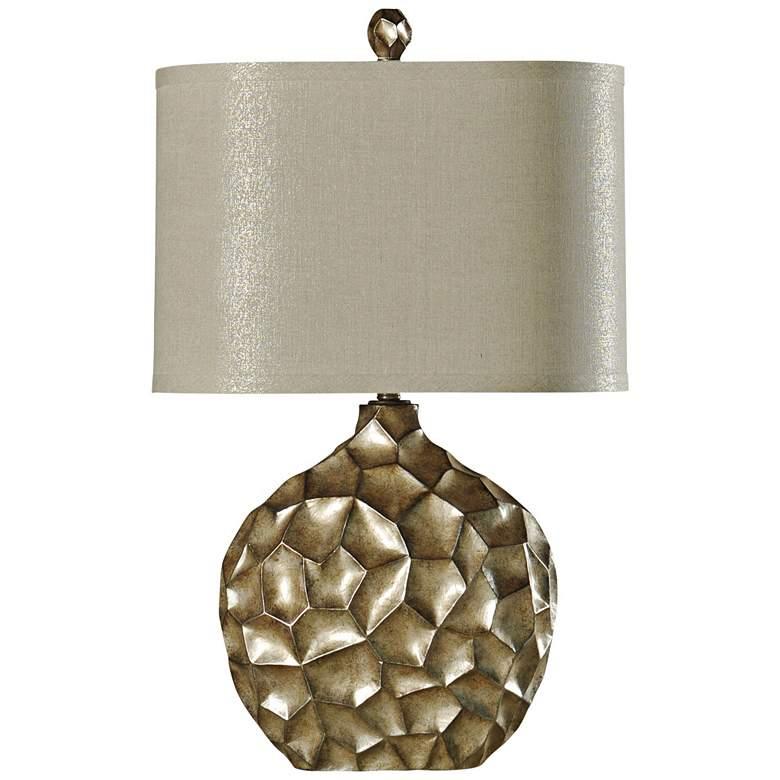 Georgian Silver Table Lamp with Cream Hardback Fabric Shade
