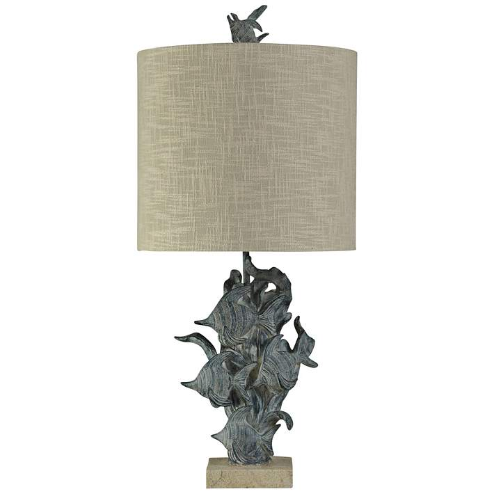 St Kilda Tropical Fish Table Lamp In Dark Blue