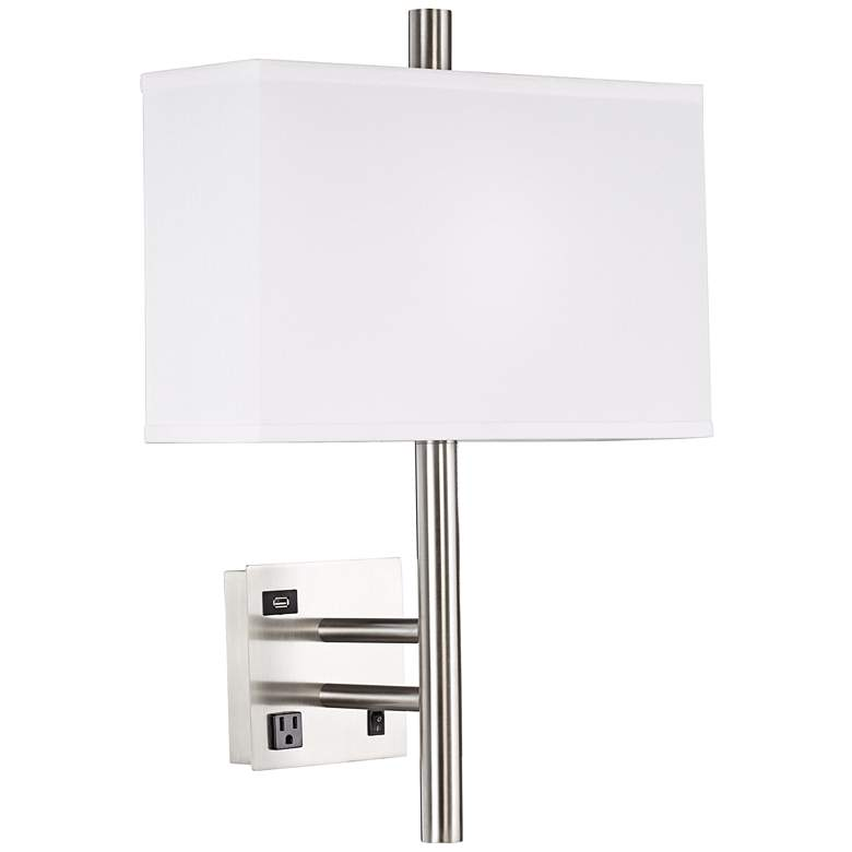 Modern Headboard Plug-In Wall Lamp with Outlet and USB Port