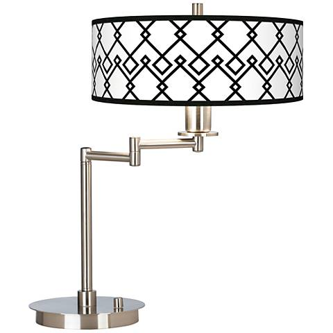 Diamond Chain Giclee CFL Swing Arm Desk Lamp