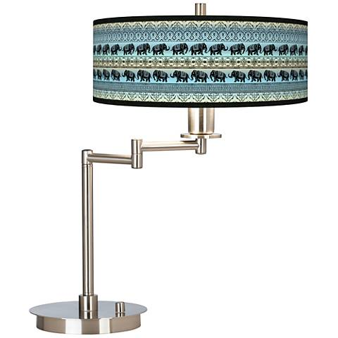 Elephant March Giclee CFL Swing Arm Desk Lamp