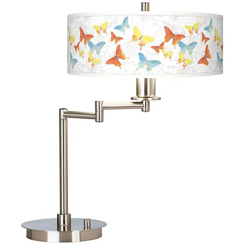 Pastel Butterflies Giclee CFL Swing Arm Desk Lamp