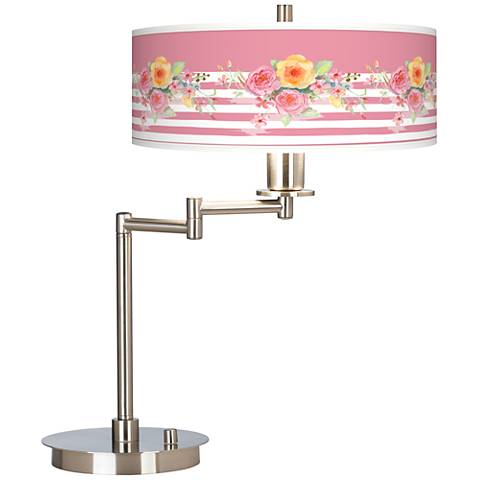 Country Rose Giclee CFL Swing Arm Desk Lamp