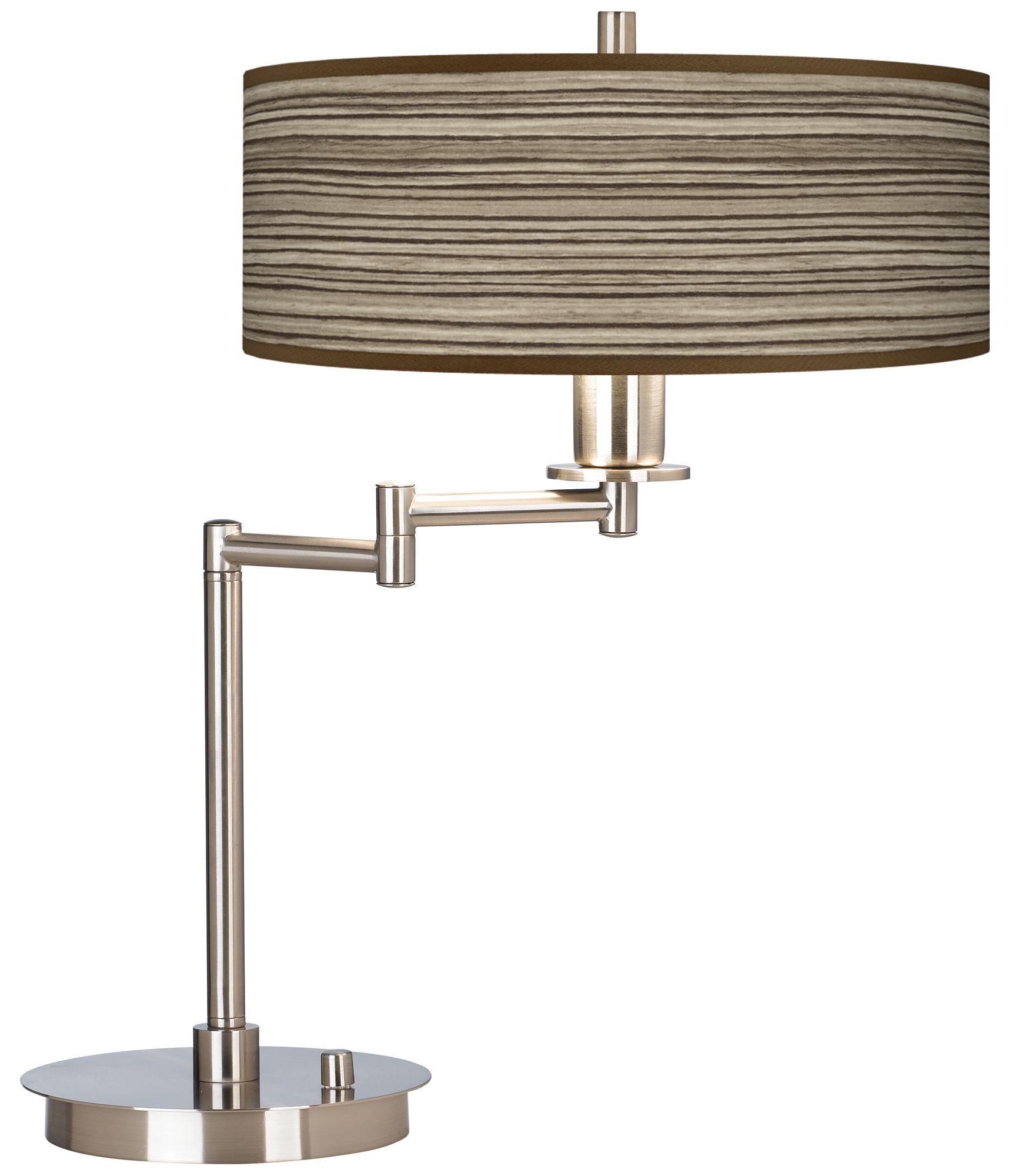 Merveilleux Cedar Zebrawood Giclee CFL Swing Arm Desk Lamp