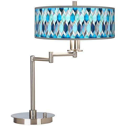 Blue Tiffany-Style Giclee CFL Swing Arm Desk Lamp