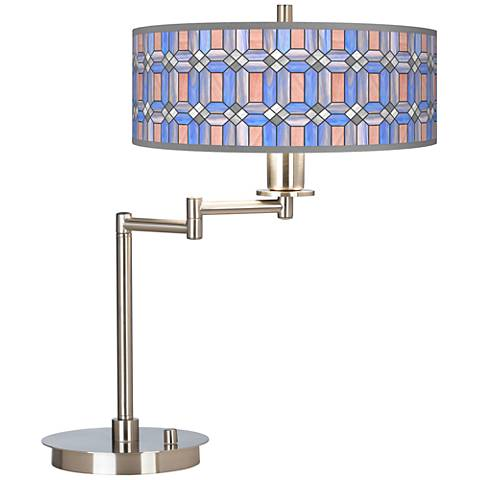 Asscher Tiffany-Style Giclee CFL Swing Arm Desk Lamp