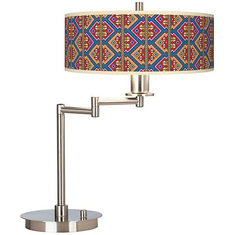 Rich Bohemian Giclee CFL Swing Arm Desk Lamp