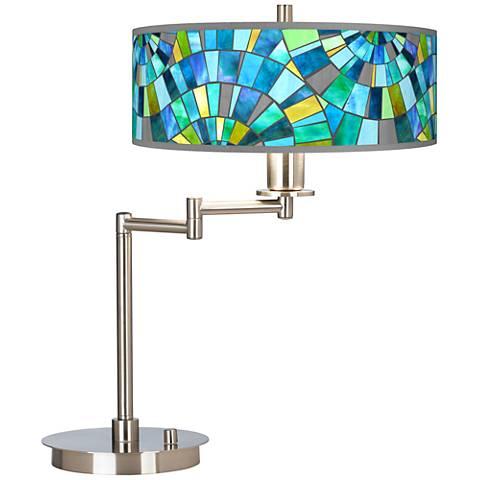 Lagos Mosaic Giclee CFL Swing Arm Desk Lamp