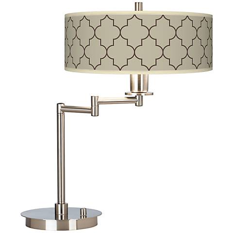 Tangier Taupe Giclee CFL Swing Arm Desk Lamp