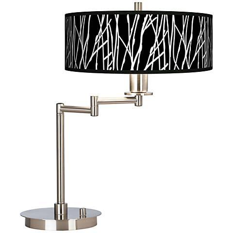 Stacy Garcia Twiggy Black Giclee CFL Swing Arm Desk Lamp
