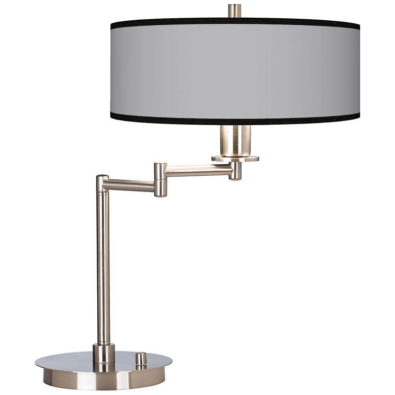 Brushed Nickel Swing Arm Desk Lamp with Opaque Shade
