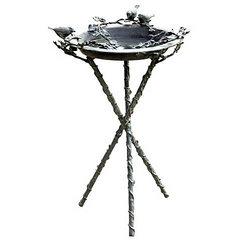 "Lovebirds and Branch Metal 37"" High Bird Bath"