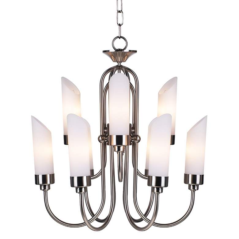 Possini Euro Design Brushed Nickel and Opal Glass Chandelier