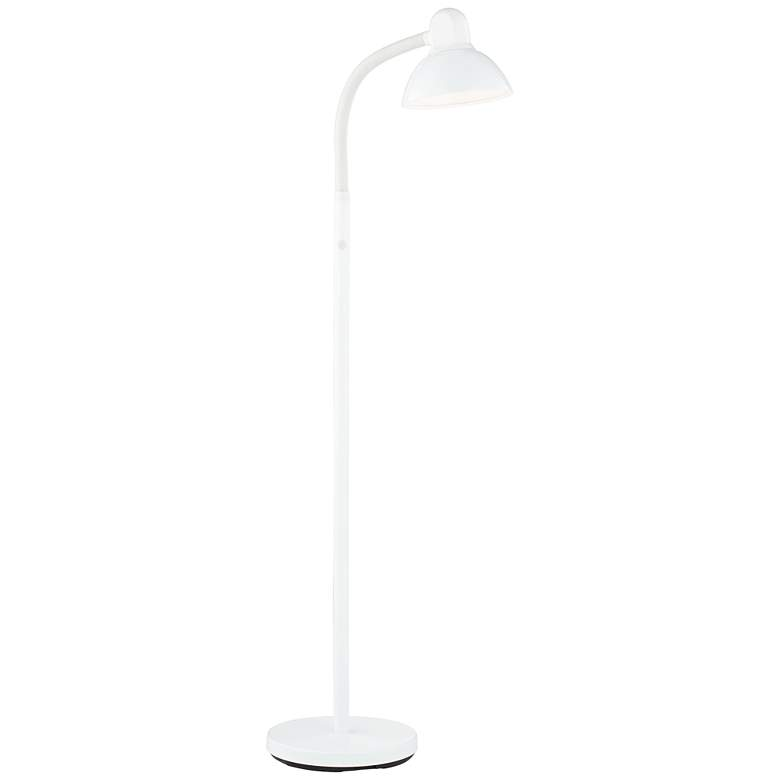 Adjustable Gooseneck Arm Floor Lamp in White