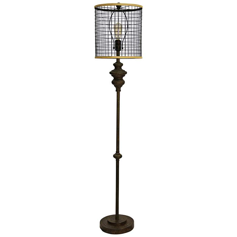 """Industrial 64"""" High Black Floor Lamp with Open Cage Shade"""